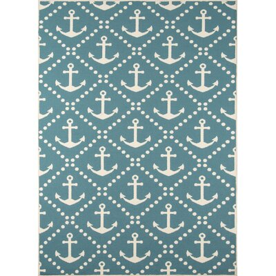 Halliday Blue/Ivory Indoor/Outdoor Area Rug Rug Size: 710 x 1010