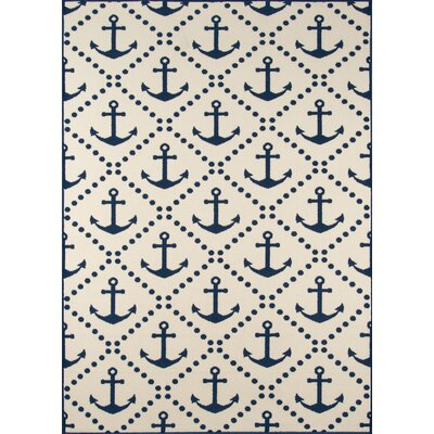 Halliday Traditional Ivory/Navy Indoor/Outdoor Area Rug Rug Size: 53 x 76