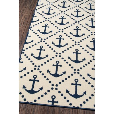 Norris Ivory/Navy Indoor/Outdoor Area Rug