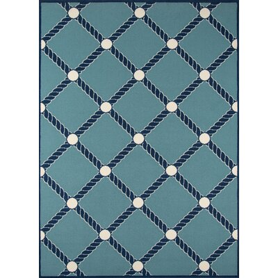 Halliday Blue/White Indoor/Outdoor Area Rug Rug Size: Rectangle 53 x 76