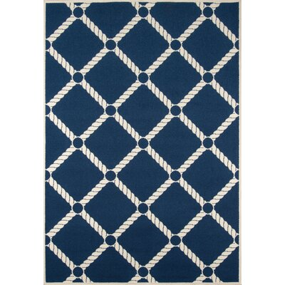 Halliday Navy/Ivory Indoor/Outdoor Area Rug Rug Size: 53 x 76