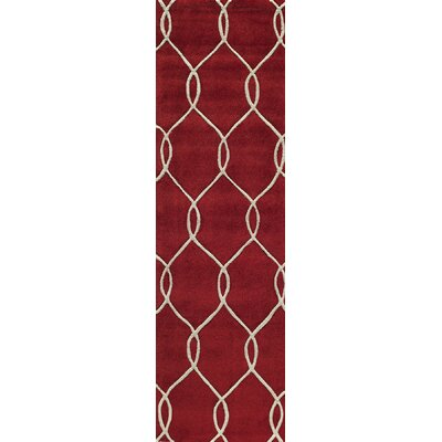 Bassett Hand-Tufted Red Area Rug Rug Size: Rectangle 36 x 56
