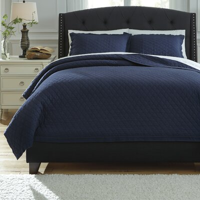 Harvey 3 Piece Quilt Set Size: Queen, Color: Navy