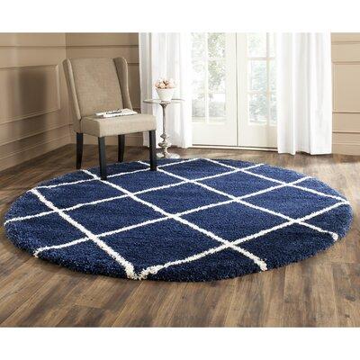 Vinehill Blue Area Rug Rug Size: Round 7