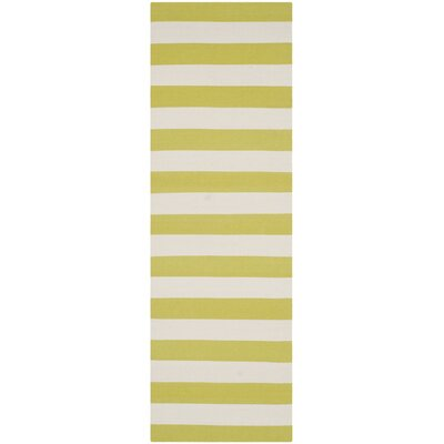 Brookvale Hand-Woven Cotton Green/Ivory Area Rug Rug Size: Runner 23 x 9