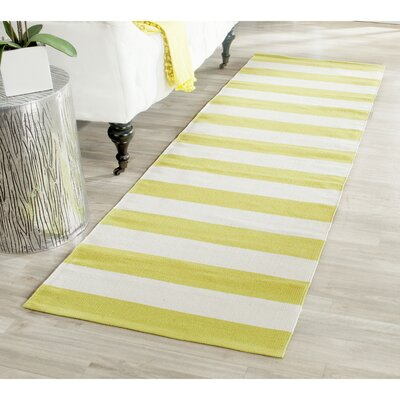 Beechwood Green & White Striped Contemporary Area Rug Rug Size: Runner 23 x 7