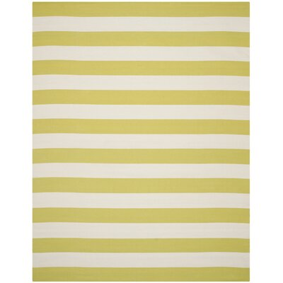 Beechwood Green & White Striped Contemporary Area Rug Rug Size: 4 x 6