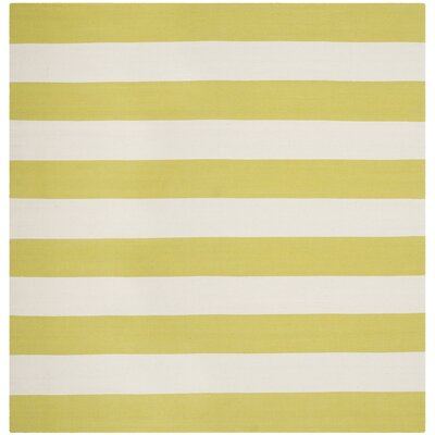 Brookvale Green & White Striped Contemporary Area Rug Rug Size: Square 6