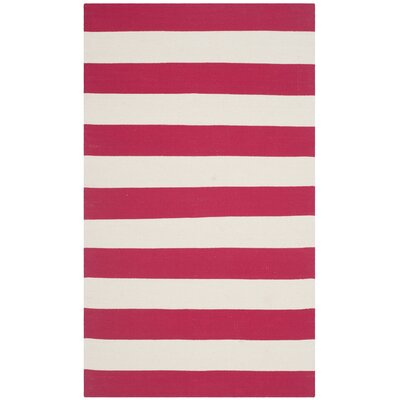 Beechwood Red & White Striped Contemporary Area Rug