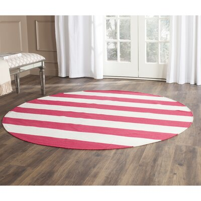 Beechwood Red & White Striped Contemporary Area Rug Rug Size: Round 6