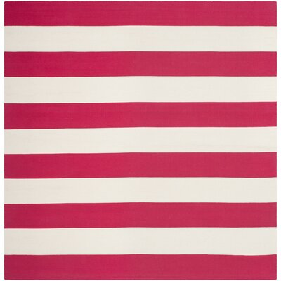 Brookvale Hand-Woven Cotton Red/White Area Rug Rug Size: Square 6
