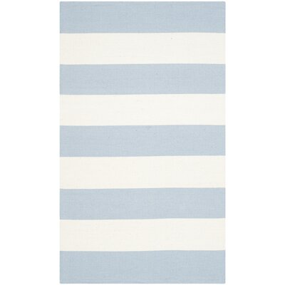 Brookvale Hand-Woven Cotton Sky Blue/Ivory Area Rug Rug Size: Rectangle 23 x 5