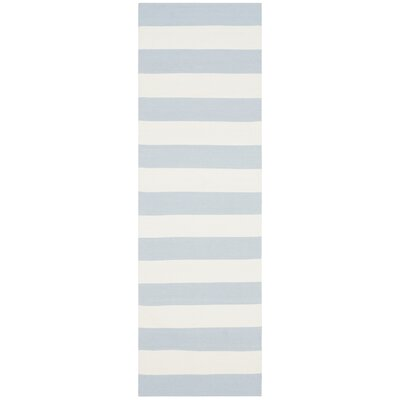 Brookvale Hand-Woven Cotton Sky Blue/Ivory Area Rug Rug Size: Rectangle 3 x 5