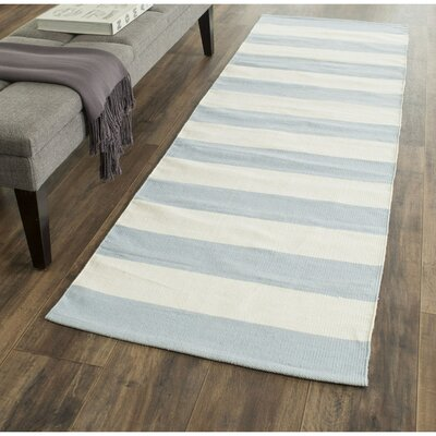 Brookvale Hand-Woven Cotton Sky Blue/Ivory Area Rug Rug Size: Runner 23 x 7