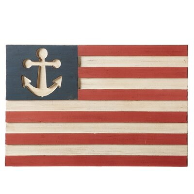 Anchor Flag Beige/Red Wood Wall Décor