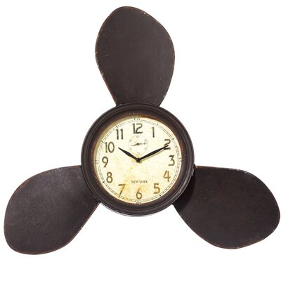 Propeller Brown Metal Wall Clock