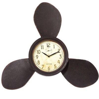 Propeller Brown Metal Wall Clock
