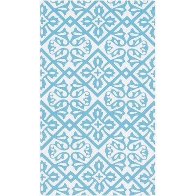 Brigham Aqua/Ivory Geometric Indoor/Outdoor Rug Rug Size: Rectangle 4 x 6