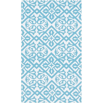 Brigham Aqua/Ivory Geometric Indoor/Outdoor Rug
