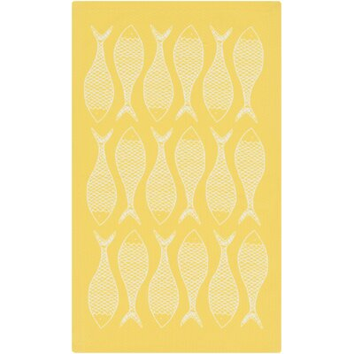 Brigham Ivory/Lemon Coastal Indoor/Outdoor Rug Rug Size: Rectangle 4 x 6