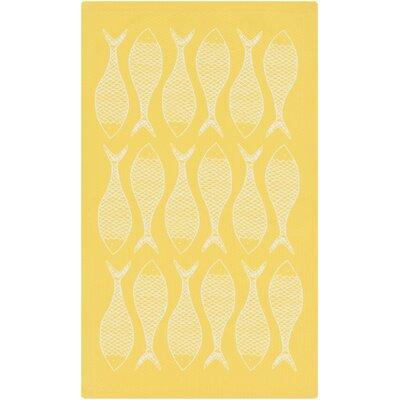 Brigham Ivory/Lemon Coastal Indoor/Outdoor Rug Rug Size: 2 x 3