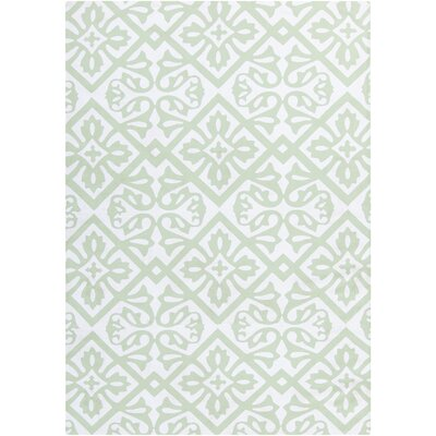 Brigham Ivory/Mint Geometric Indoor/Outdoor Rug Rug Size: 4 x 6