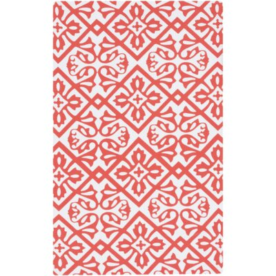 Brigham Coral/Ivory Indoor/Outdoor Area Rug
