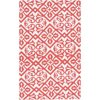 Brigham Bright Orange/White Area Rug