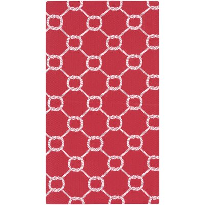 Brigham Bright Red/White Indoor/Outdoor Area Rug