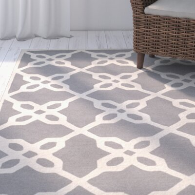 Linden Hand-Tufted Dark Gray / Ivory Area Rug Rug Size: Rectangle 8 x 10