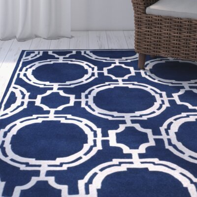 Moraine Hand-Tufted Dark Blue/Ivory Area Rug Rug Size: Rectangle 4 x 6