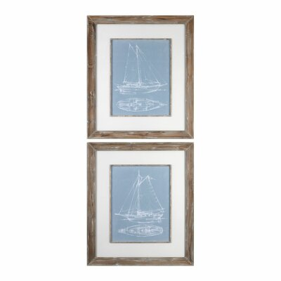 Yacht Sketches 2 Piece Framed Graphic Art Set