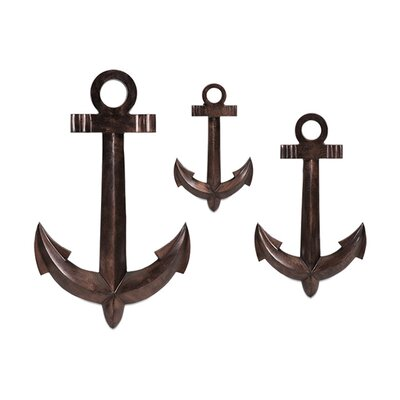 3 Piece Anchor Brown Metal Wall Décor Set