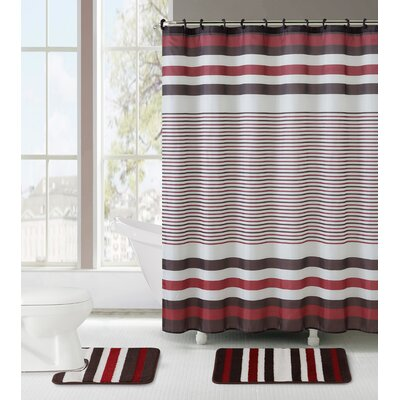 Ruxton 3 Piece Shower Curtain Set Color: Red/Chocolate
