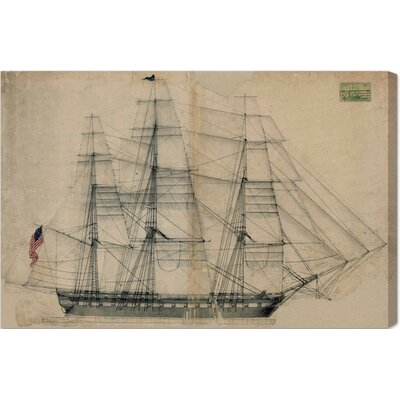 USS Constitution Sail Plan 1817 Graphic Art on Wrapped Canvas Size: 20