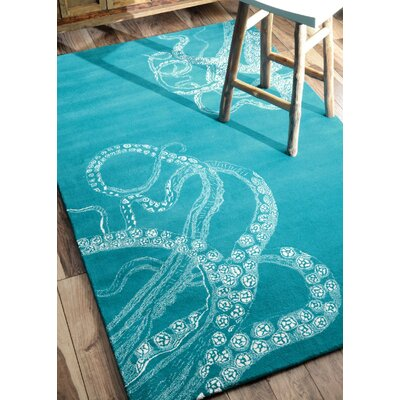 Claretta Hand-Tufted Blue/White Area Rug Rug Size: Rectangle 76 x 96