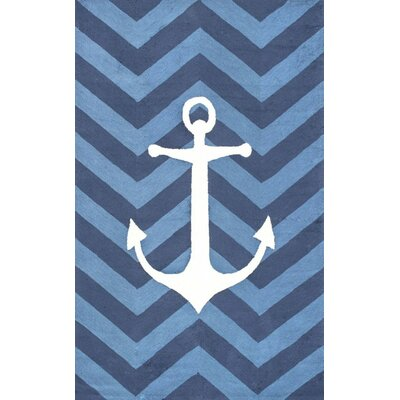 Melville Hand-Hooked Blue Area Rug Rug Size: 5 x 8