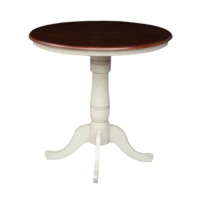 Windsor Counter Height Pub Table with Leaf Finish: Antiqued Almond / Espresso