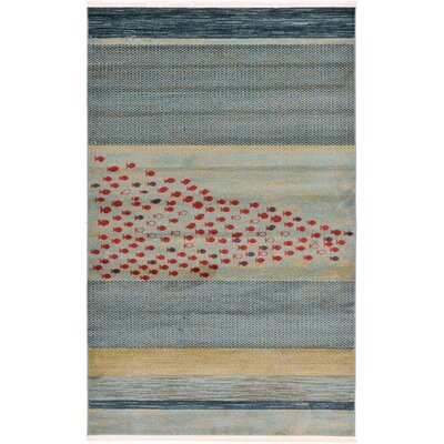 Breakwater Bay Foxfield Blue Area Rug