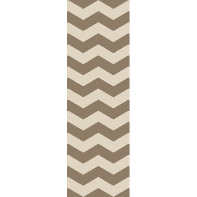 Woodcroft Beige/Brown Chevron Rug Rug Size: Runner 26 x 8