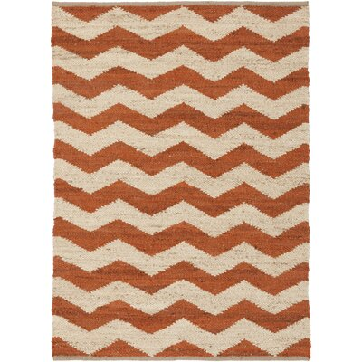 Woodcroft Hand-Woven Burnt Orange/Cream Area Rug Rug size: 2 x 3