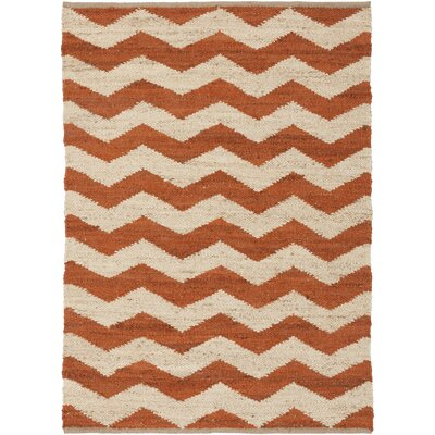 Woodcroft Hand-Woven Burnt Orange/Cream Area Rug Rug size: Rectangle 5 x 76