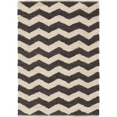 Woodcroft Hand-Woven Black/Cream Area Rug Rug size: Rectangle 5 x 76