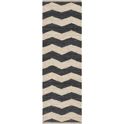 Woodcroft Hand-Woven Black/Cream Area Rug Rug size: Runner 2'6