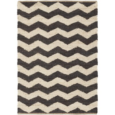Woodcroft Hand-Woven Black/Cream Area Rug Rug size: 5' x 7'6