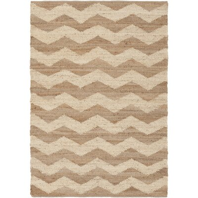 Woodcroft Hand-Woven Dark Brown/Cream Area Rug Rug size: Rectangle 8 x 10
