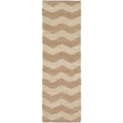 Woodcroft Hand-Woven Dark Brown/Cream Area Rug Rug size: Runner 26 x 8