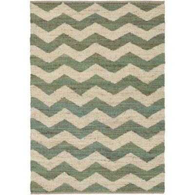 Woodcroft Hand-Woven Dark Green/Cream Area Rug Rug size: 5' x 7'6