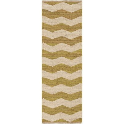 Woodcroft Hand-Woven Lime/Cream Area Rug Rug size: Runner 2'6