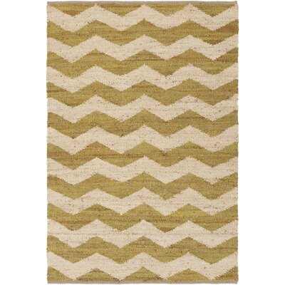 Woodcroft Hand-Woven Lime/Cream Area Rug Rug size: Rectangle 5 x 76